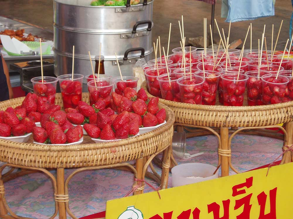 Strawberries for sale at the Chiang mai Sunday walking street market